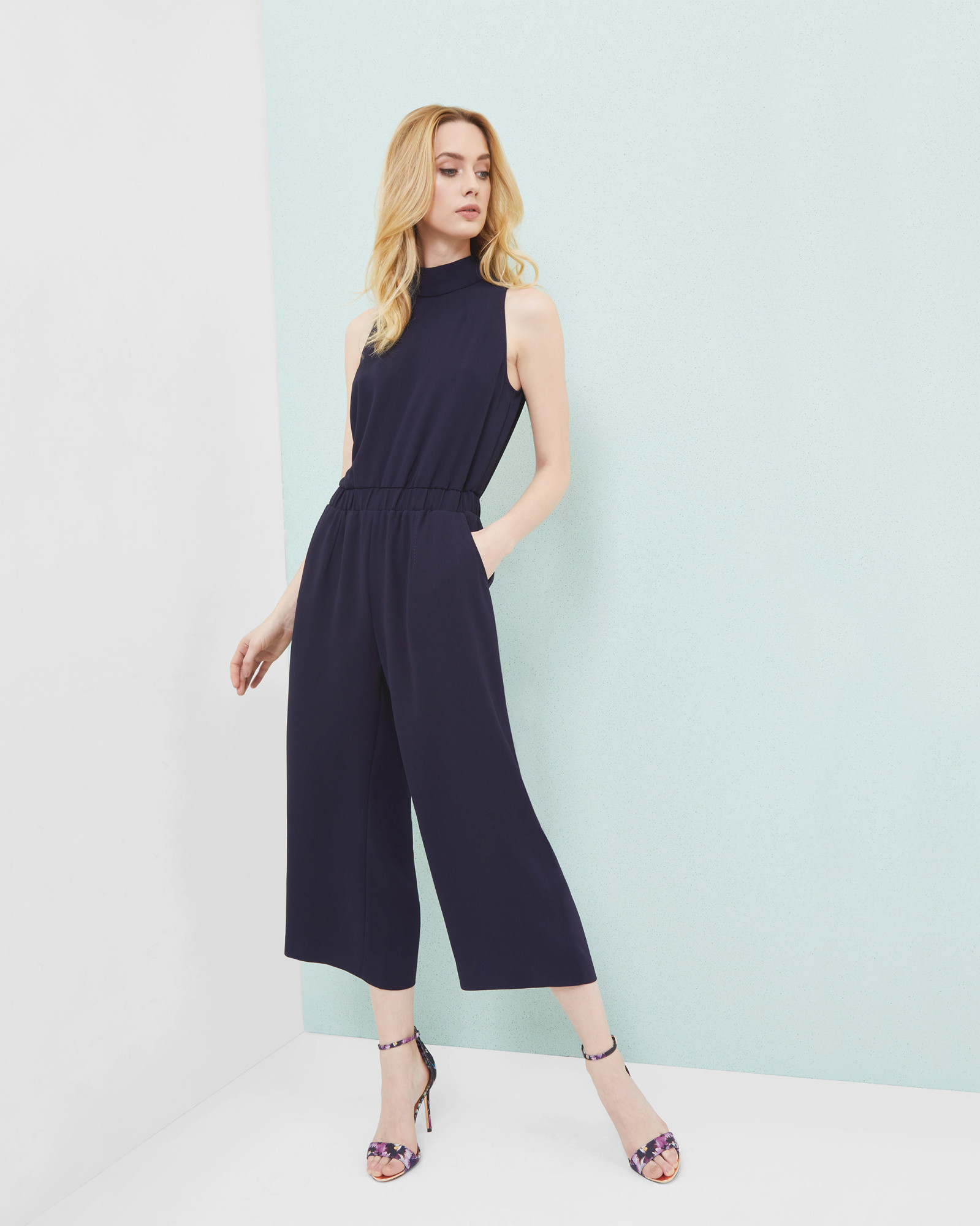 dd8b5d44ff High neck cropped jumpsuit - Dark Blue