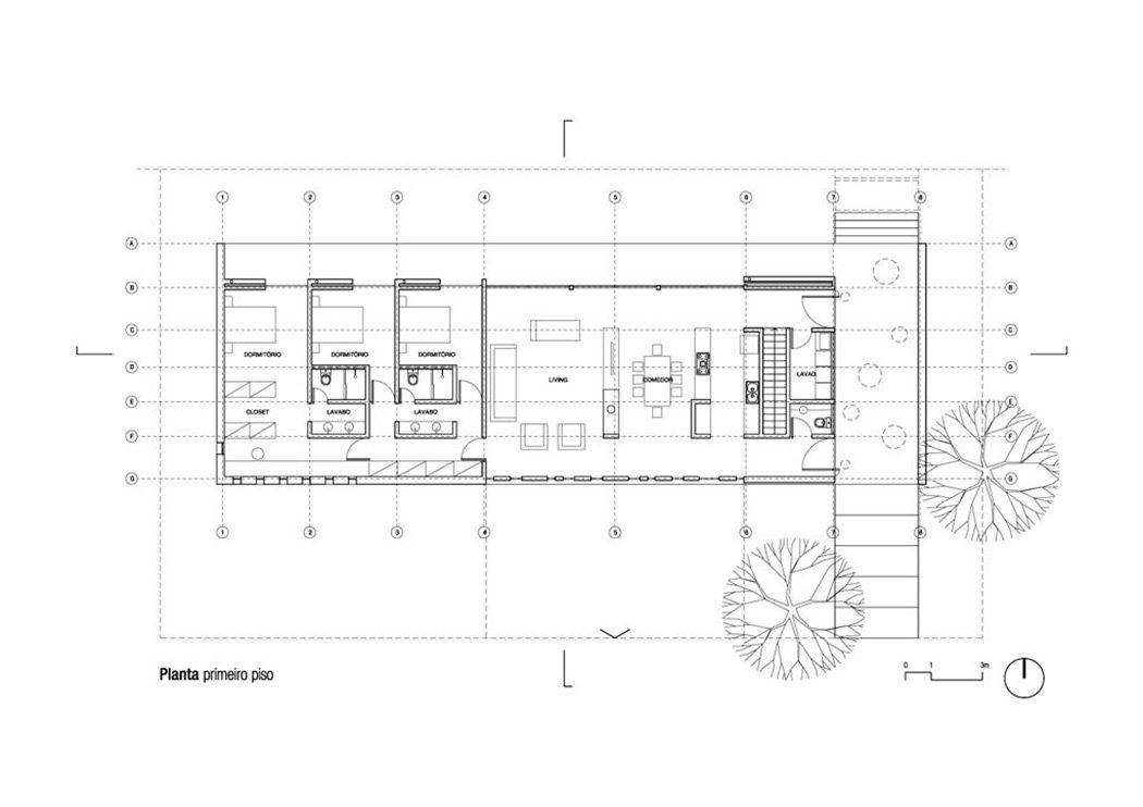 Floor Plan Modern Bungalow In Bento Goncalves Brazil Modern Bungalow Long House Narrow House Plans