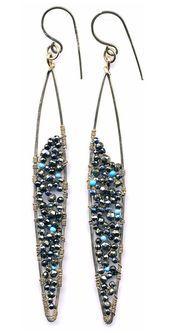 E0561 Hammered Gold Filled Super Skinny Marquis Earrings,#e0561 #earrings #fille…
