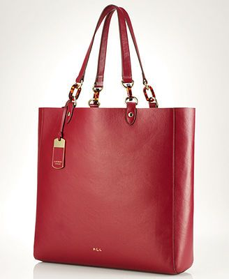 Red Leather Bags Lauren Ralph