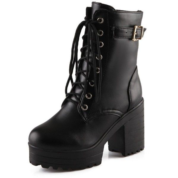 Women's Lace-up Buckle Boots Combat Platform Chunky Heel Martin Boots