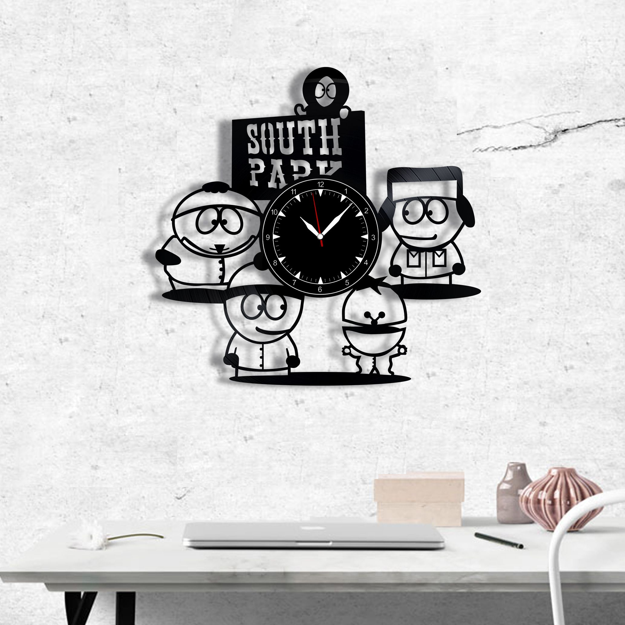 South Park Vinyl Record Clock South Park Wall Clock Best Gift For Fans South Park Original Wall Home Decor Decor Homedecor Wallart Walldecor Wall Chasy