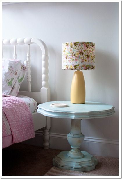 Neat Use Of A Round Table For A Bedside Table Love The