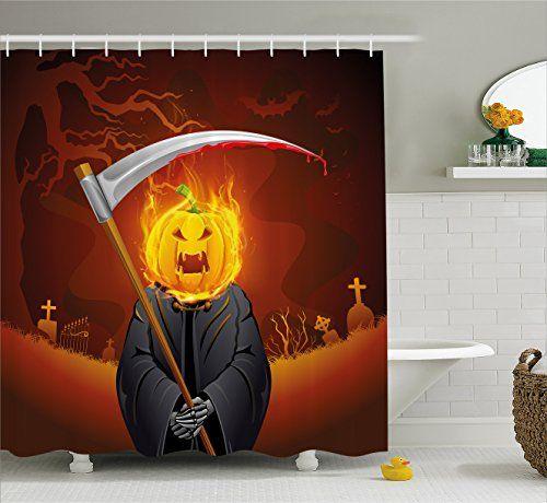 Ambesonne Halloween Decorations Collection Pumpkin Shaped Grim Head - halloween bathroom sets