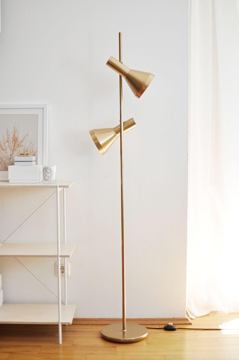 DIY: Goldene Stehlampe | wohnzimmer | Stehlampe, Stehlampe ...