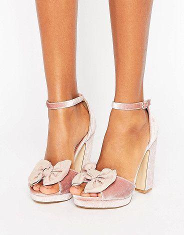 2897ffb215f8 Bow Trim Velvet Platform Sandal