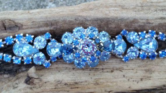 April Showers Sale Vintage baby blue Juliana Delizza Elster D&E rhinestone cocktail layered Navette and teardrop bracelet