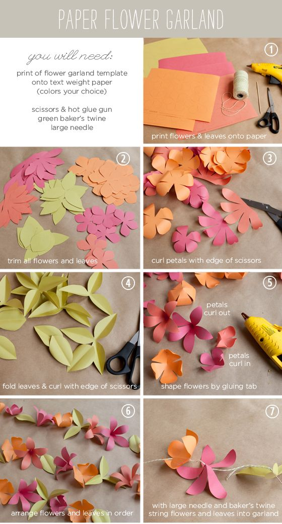 How To Make A Paper Flower Garland Tutorial With Free Templates From Ellinée