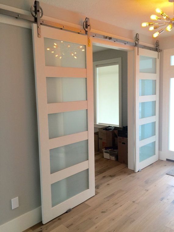 Solid Glass 4 Paneled Barn Door By Thewhiteshanty On Etsy To Go In Between The Living Room And Dini Glass Barn Doors Inside Barn Doors Sliding Doors Interior