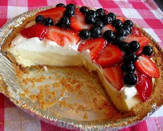KEY LIME PIE from @Drick Perry topped with a frothy, whipped cream topping & loaded with fresh summer berries