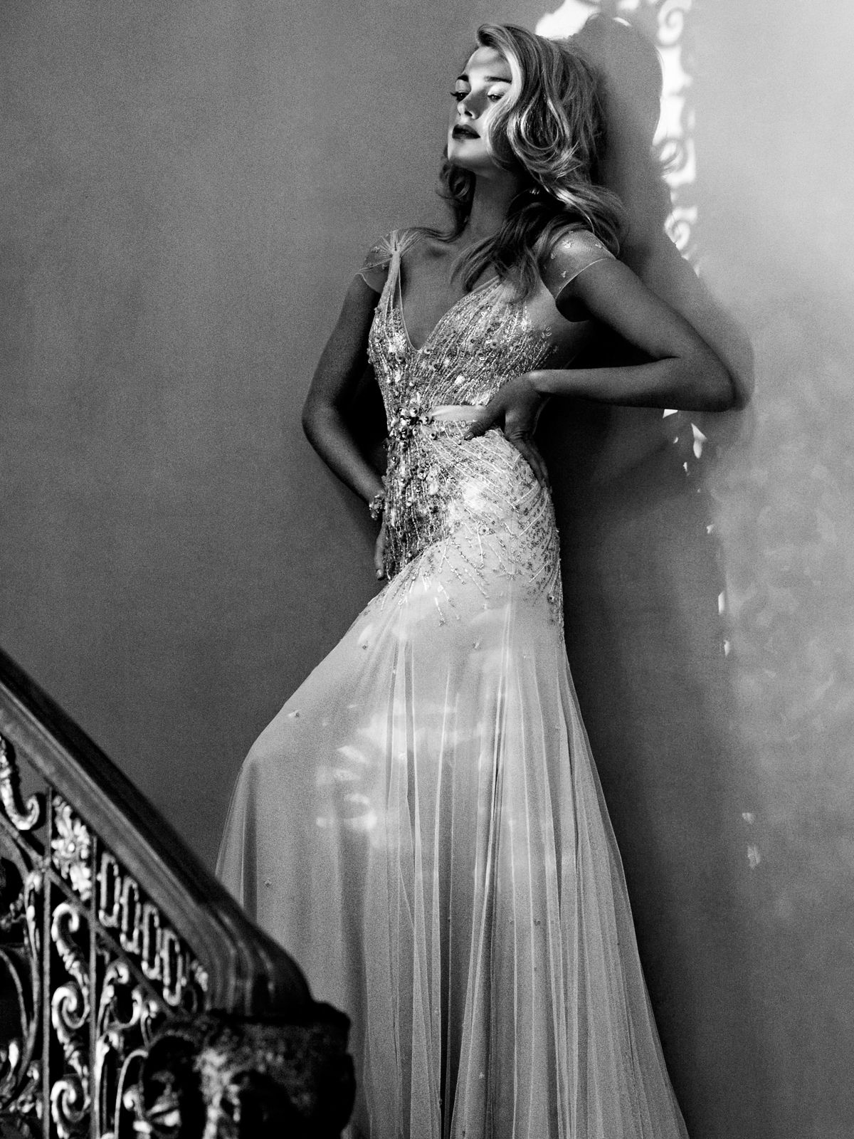 standing / Jenny Packham gown