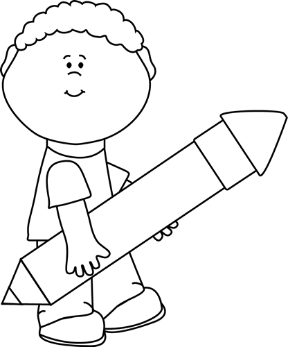 Black And White Boy Carrying A Big Pencil Clip Art Black And White Boy Carrying A Big Pencil Image Kids Writing Clipart Black And White Writing Cartoons