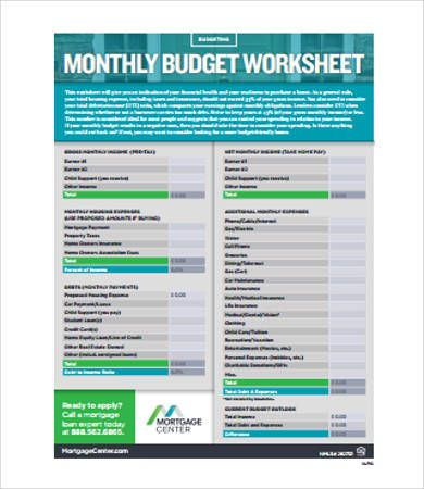 Home Monthly Budget Worksheet  Home Budget Template  Advantages