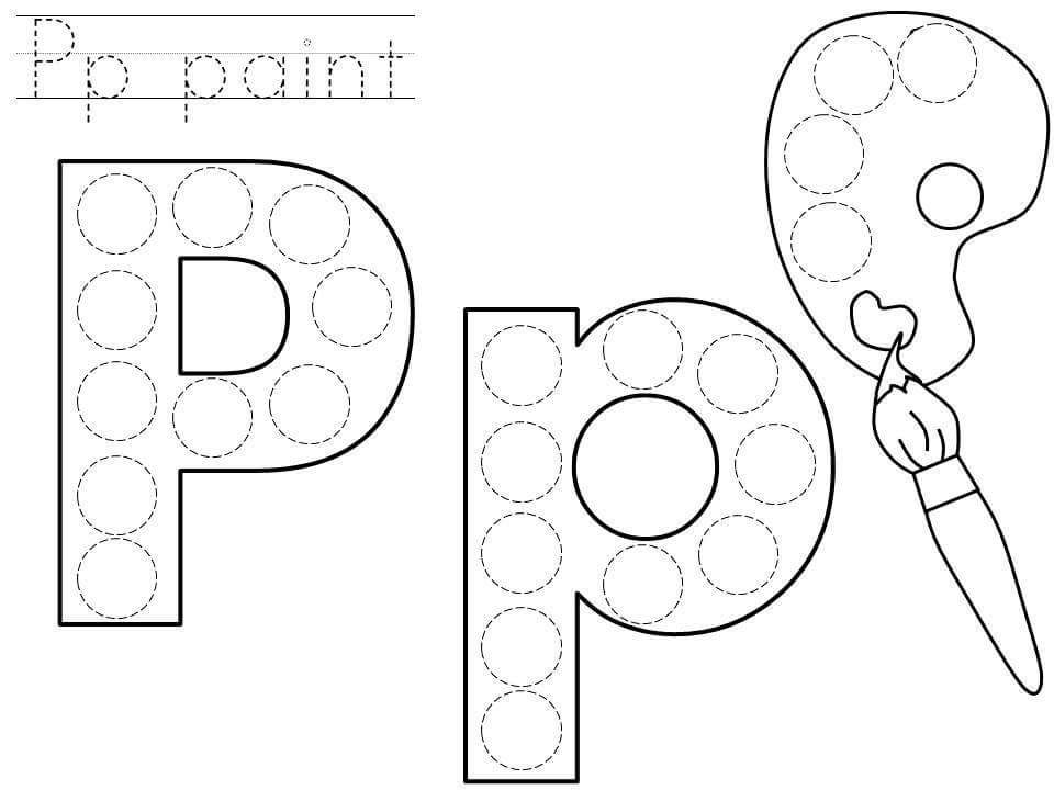 do a dot letter p printable alphabet art n activity dot letters do a dot lettering. Black Bedroom Furniture Sets. Home Design Ideas
