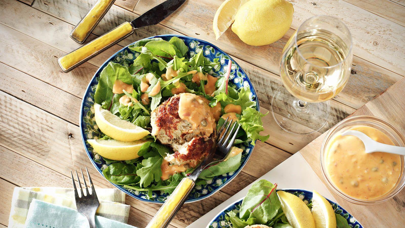 Crab cake salad with sriracha remoulade recipe crab