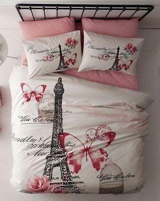 Giselle Paris Eiffel 100 Ranforce Cotton Quilt Duvet Cover Set