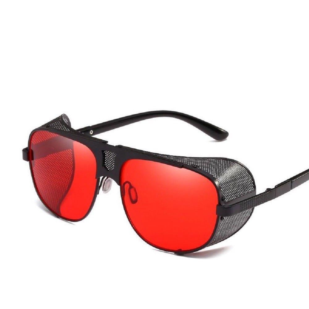 Fashion cool shield punk style side mesh sunglasses