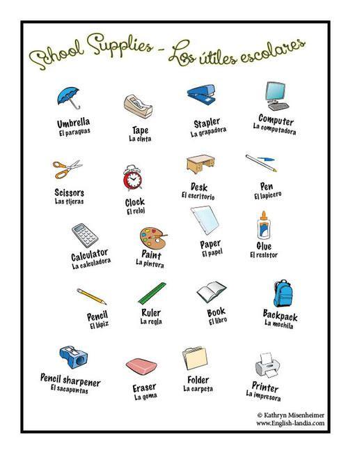 School Supplies Spanish English Vocabulaire Fourniture Scolaire Scolaire