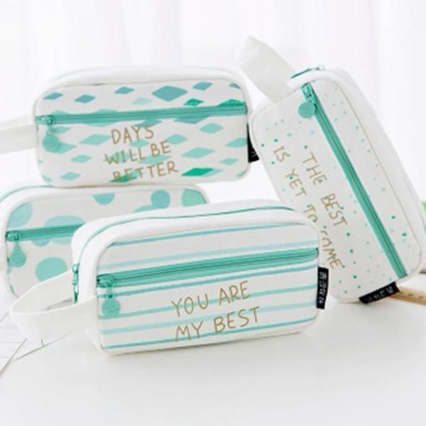 Mint Canvas with Gold Quote Pencil Case, Large is part of School Organization Pencil Case - Soft canvas pencil case in Mint and white pattern with golden lettering  Choose between four quotes  It's my favorite bag ,  Days will be better ,  You are my best      and  The best is yet to come   This pencil case is a large rectangular size with rounded edges  It is also available in Medium triangular    FREE SHIPPING