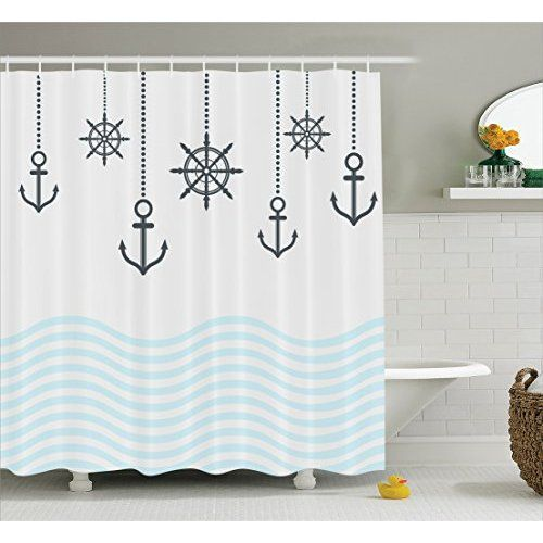 Chevron Shower Curtain Anchor Decor By Ambesonne Nautical With