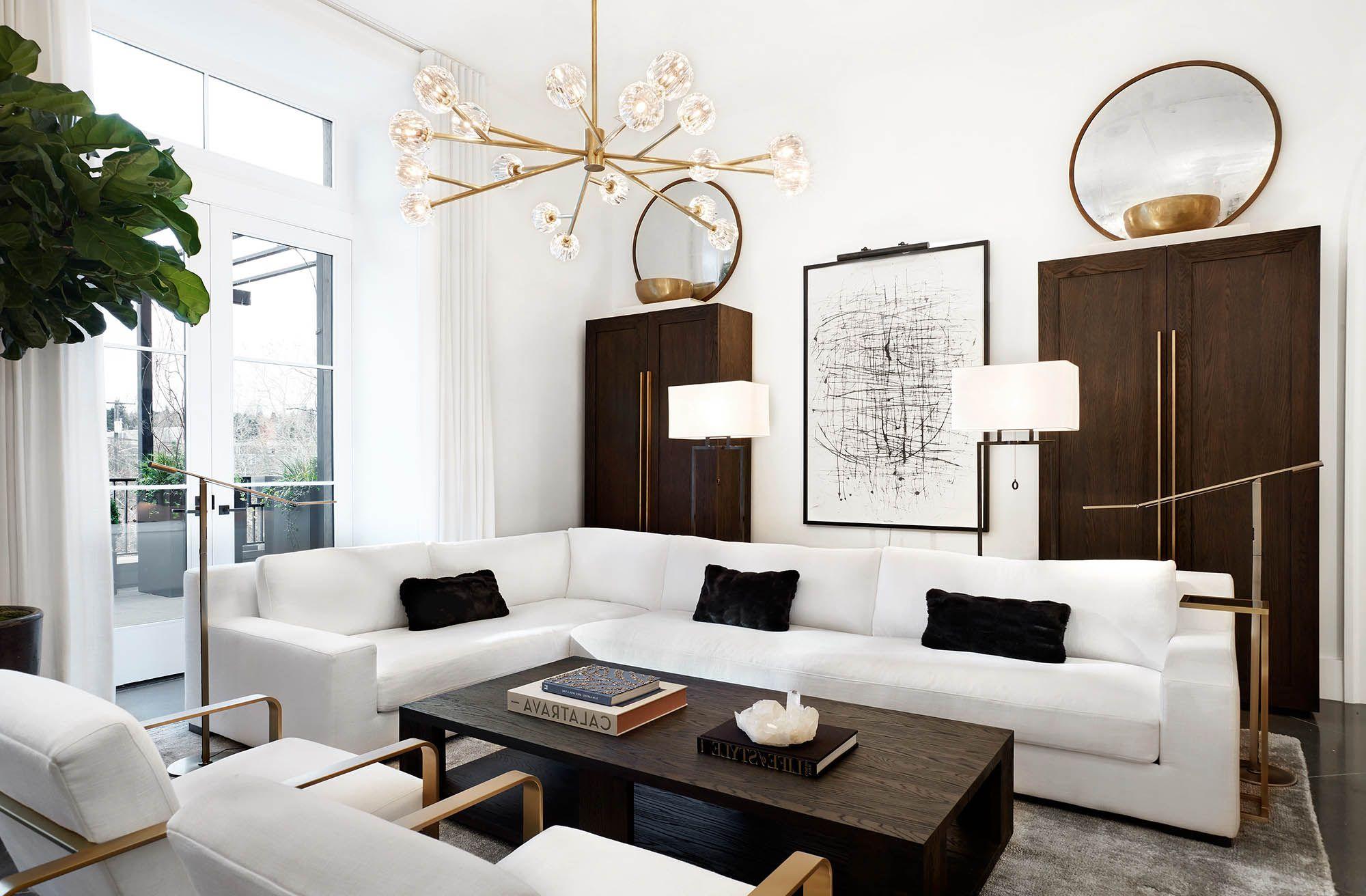 Elegant White Living Room Decor With White Modern Sectional