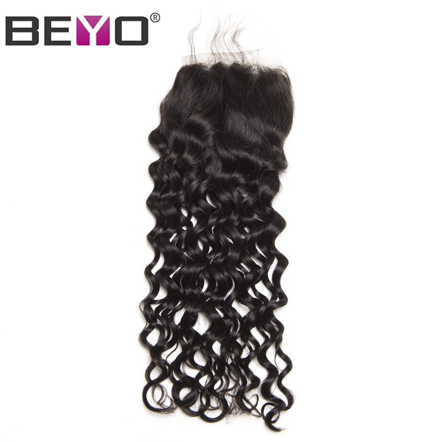 Beyo Water Wave Peruvian Lace Closure NonRemy Hair X Free Part