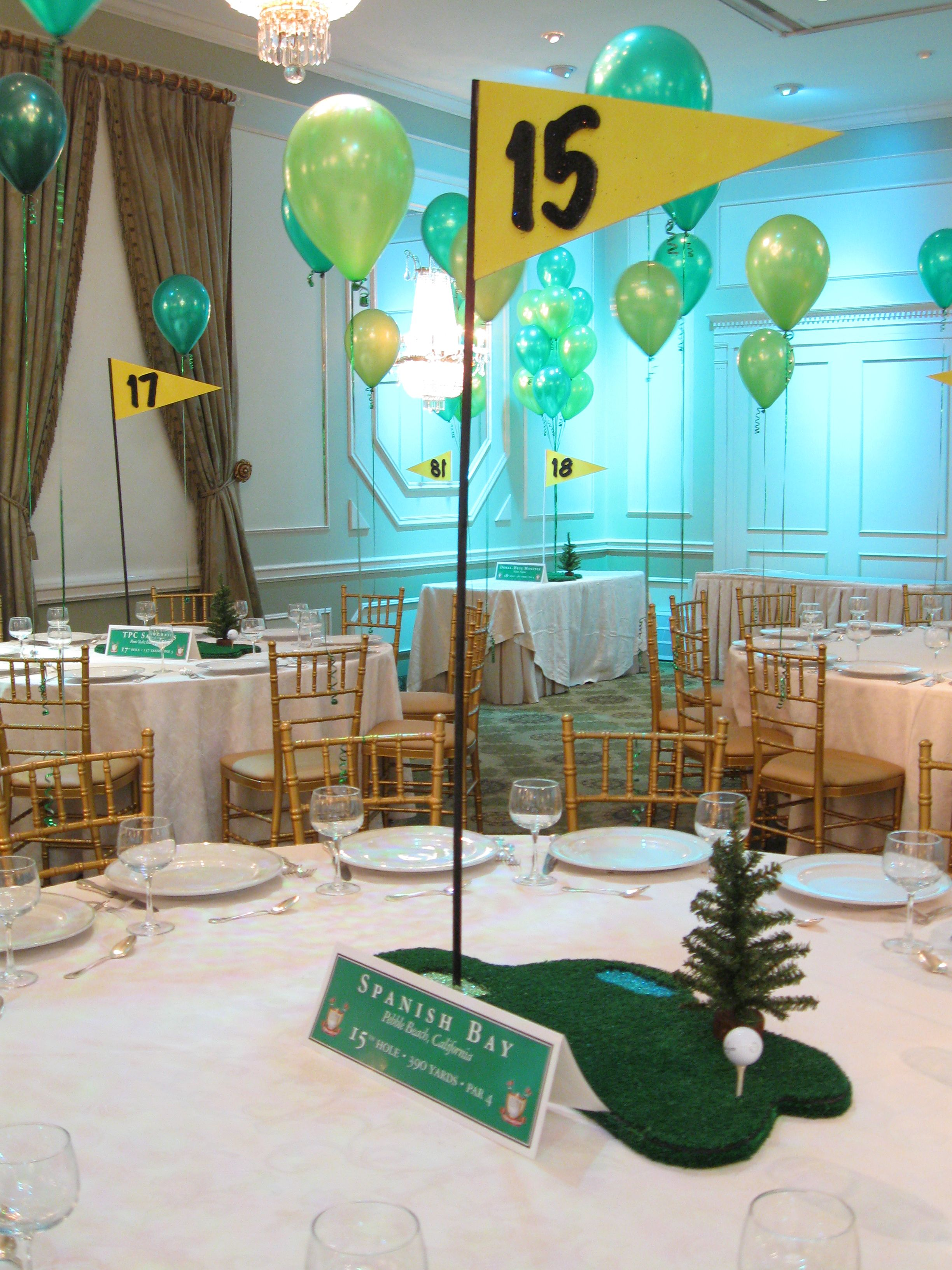 Golf themed centerpiece centerpieces pinterest golf for Golf centerpiece ideas