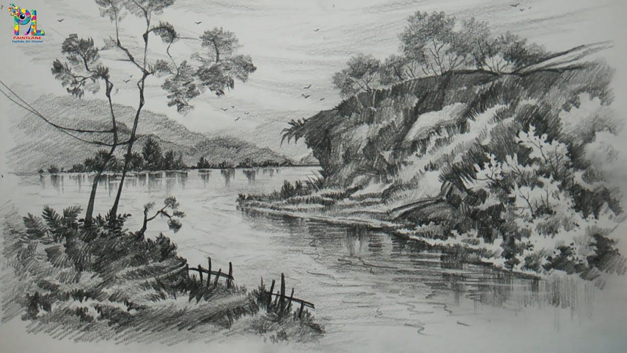 Learn Drawing And Shading A Landscape Art With Pencil Pencil Art Pencil Sketching Youtube Landscape Drawings Landscape Sketch Landscape Pencil Drawings