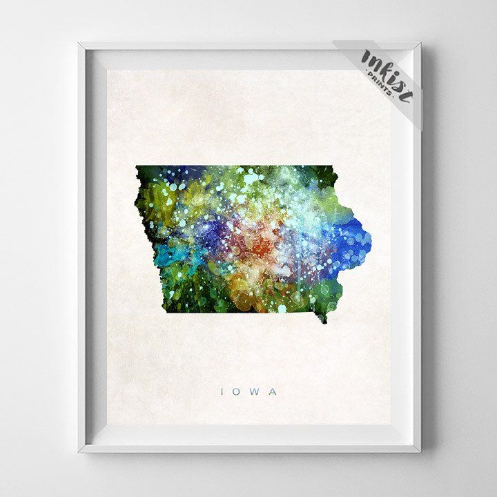 Iowa Watercolor Map Print. Prices from $9.95. Available at www.InkistPrints.com #Watercolor #Iowa