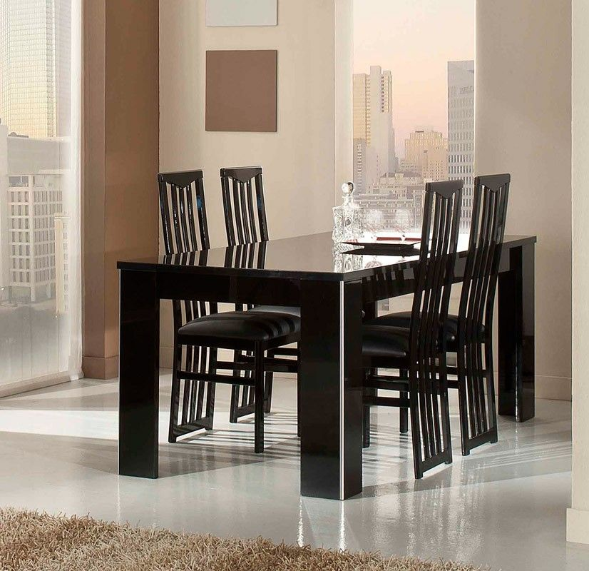 Black Lacquer Dining Room Table: Elite Modern Italian Black Lacquer Dining Table