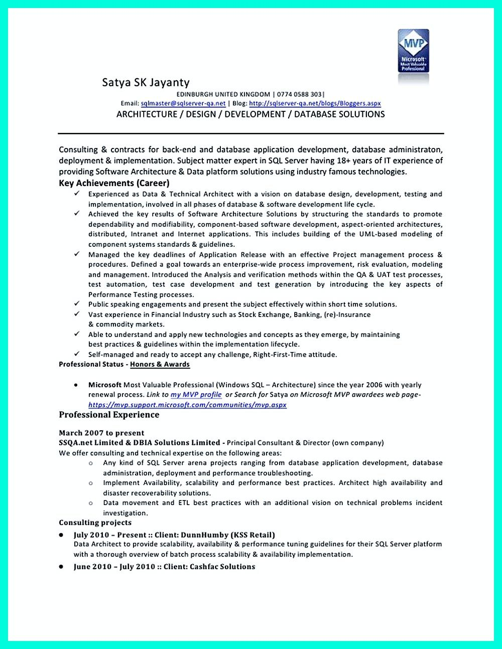 In The Data Architect Resume One Must Describe The Professional Profile Of The Applicant As Well As His Educational Background Skills And Experience Data I