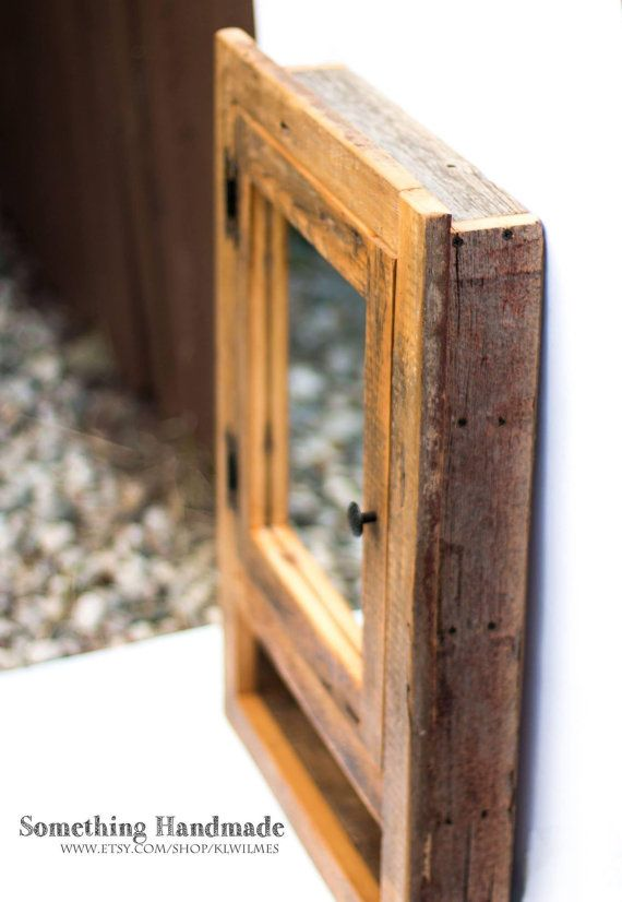 Recessed Barn Wood Medicine Cabinet With Open Shelf Made From