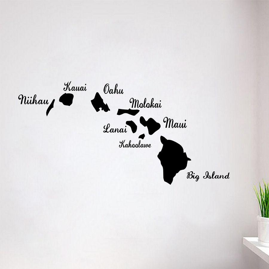 Hawaiian Islands Hawaii Vinyl Decal Sticker New Hawaii Map Decal Stickers For Car And Wall Affiliate Hawaiian Islands Island Kauai [ 900 x 900 Pixel ]