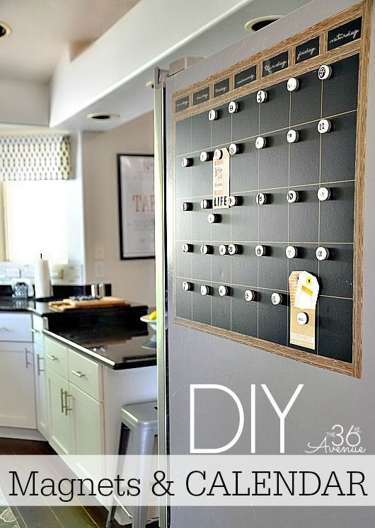 DIY Chalkboard Magnetic Calendar Via