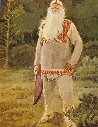 Väinämöinen with his kantele. Väinämöinen is the central character in the Finnish folklore and the main character in the national epic Kalevala.