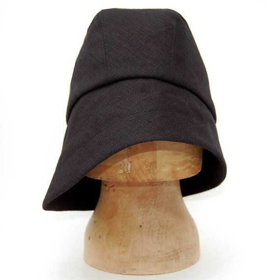 Black bucket hat Linen sun hatZUTangelique asymmetric by ZUTusine