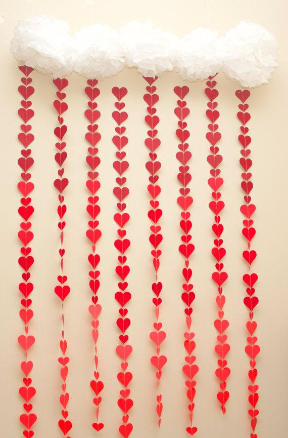 Red Ombre Heart Drop Garland: 8 Strands--Perfect Photography Background or Valentine's Day Decoration