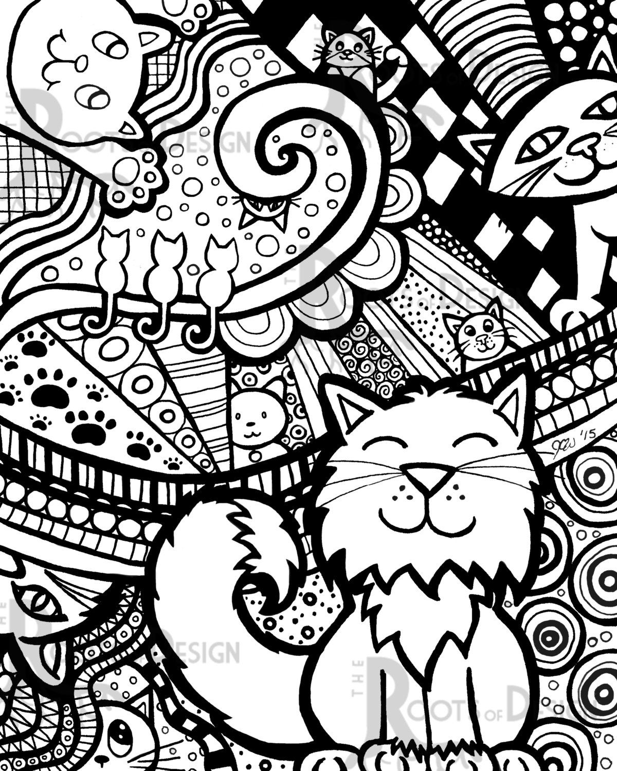 Instant Download Coloring Page Cat Art Print Zentangle Etsy Coloring Pages Cat Art Print Cat Coloring Page [ 1500 x 1200 Pixel ]