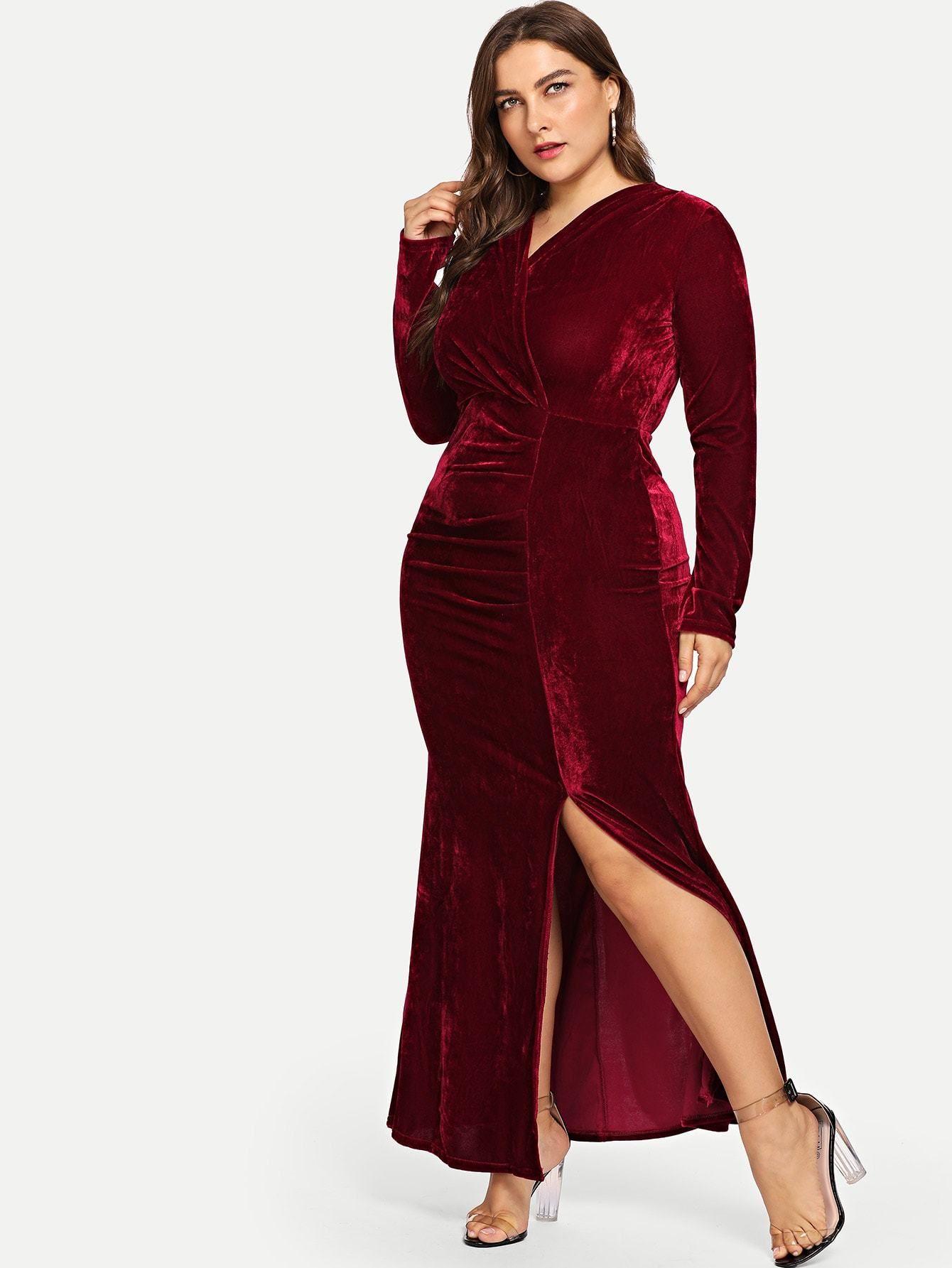 865913c56fe Plus Size Split Hem Burgundy Velvet Party Dress Multi Sizes FREE ...