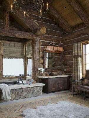 love the tub! Växthus Pinterest Logs, Cabin and Log cabins