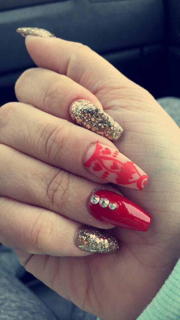 Red And Gold Coffin Nail Design With Negative Space