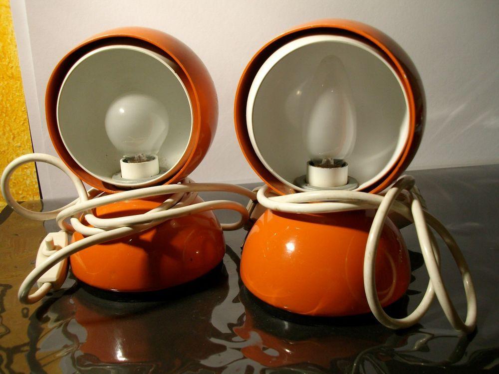 Ideal  Extrem seltene Design Italien Kugel Lampen orange Vico Magestretti Milano