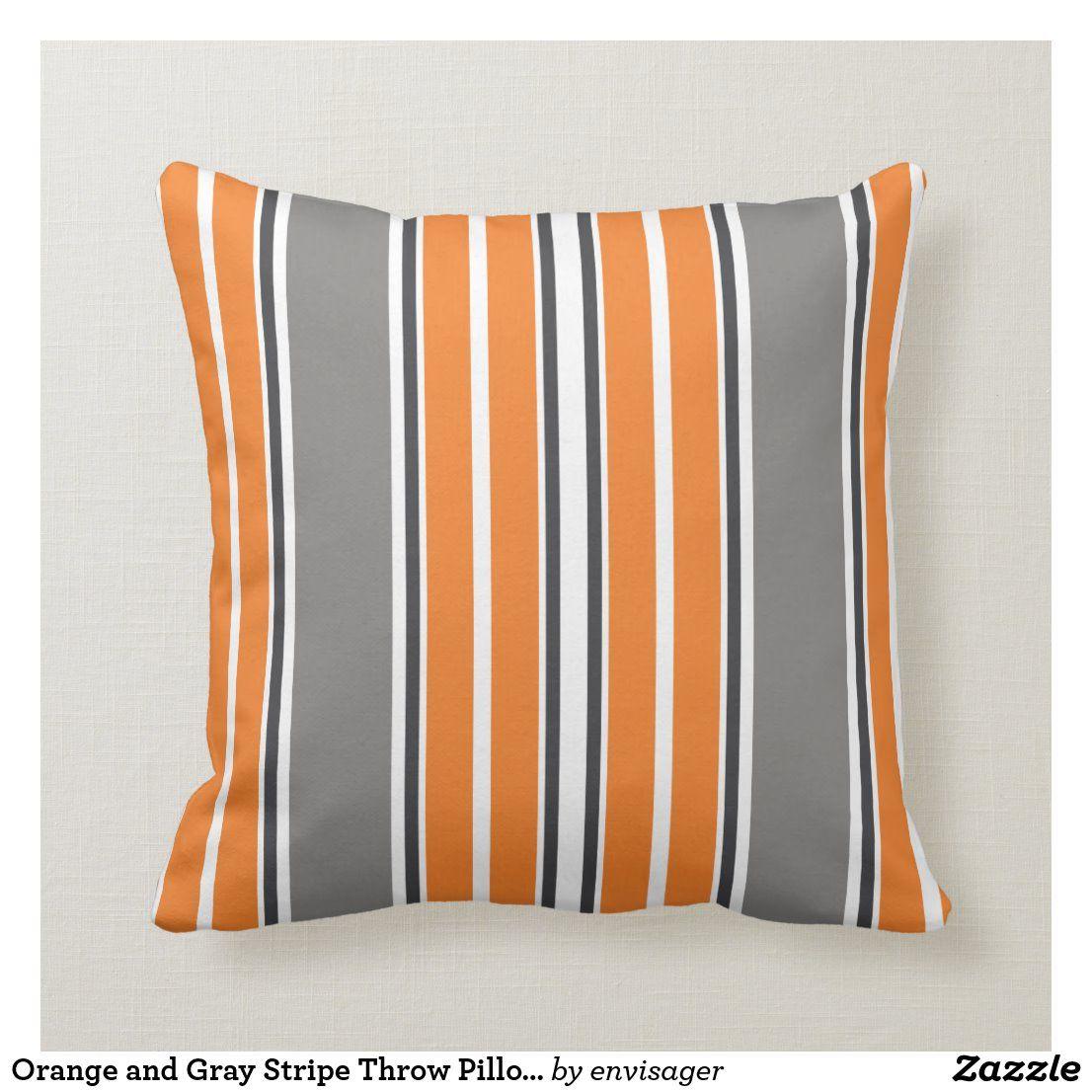 Orange And Gray Stripe Throw Pillows Zazzle Com In 2020 Orange Throw Pillows Stripe Throw Pillow Personalized Throw Pillow