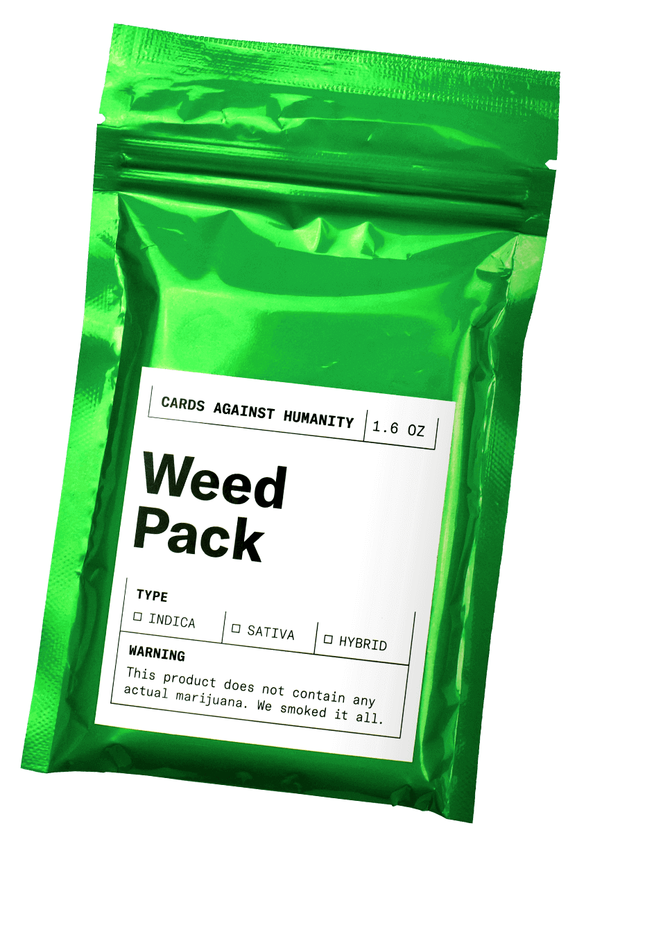 Cards Against Humanity Weed Pack expansion pack, donating all ...