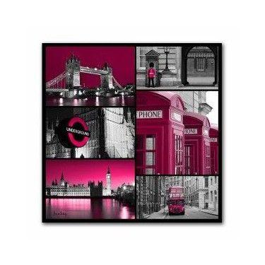 Tableau Mosaïque Londres Rose 70 x 70 cm