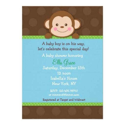 monkey baby shower invitations boy