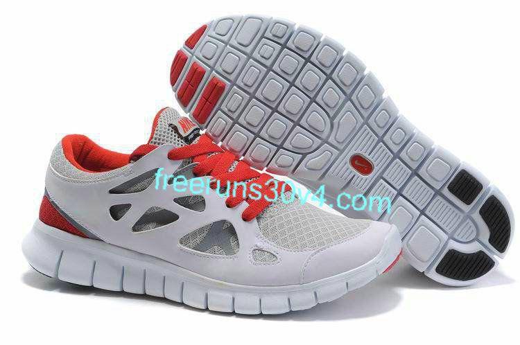 Mens Nike Free Run 2 Gray Red Shoes