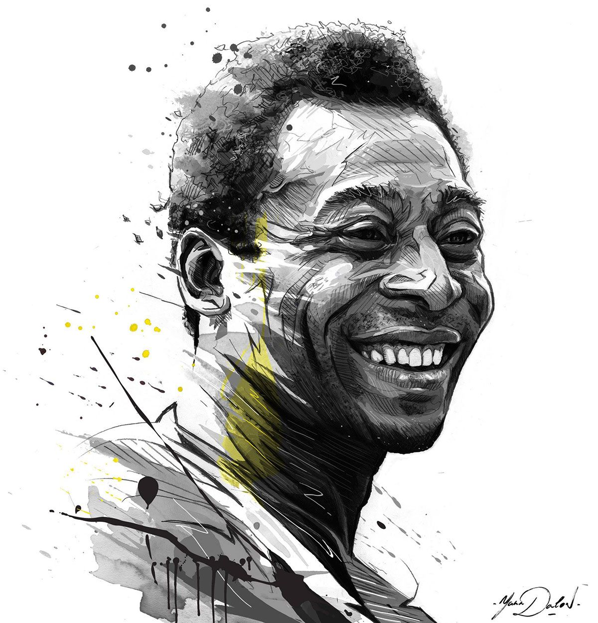 My Painting of the legend Pelé for ESPN.Art direction Munehito Sawada
