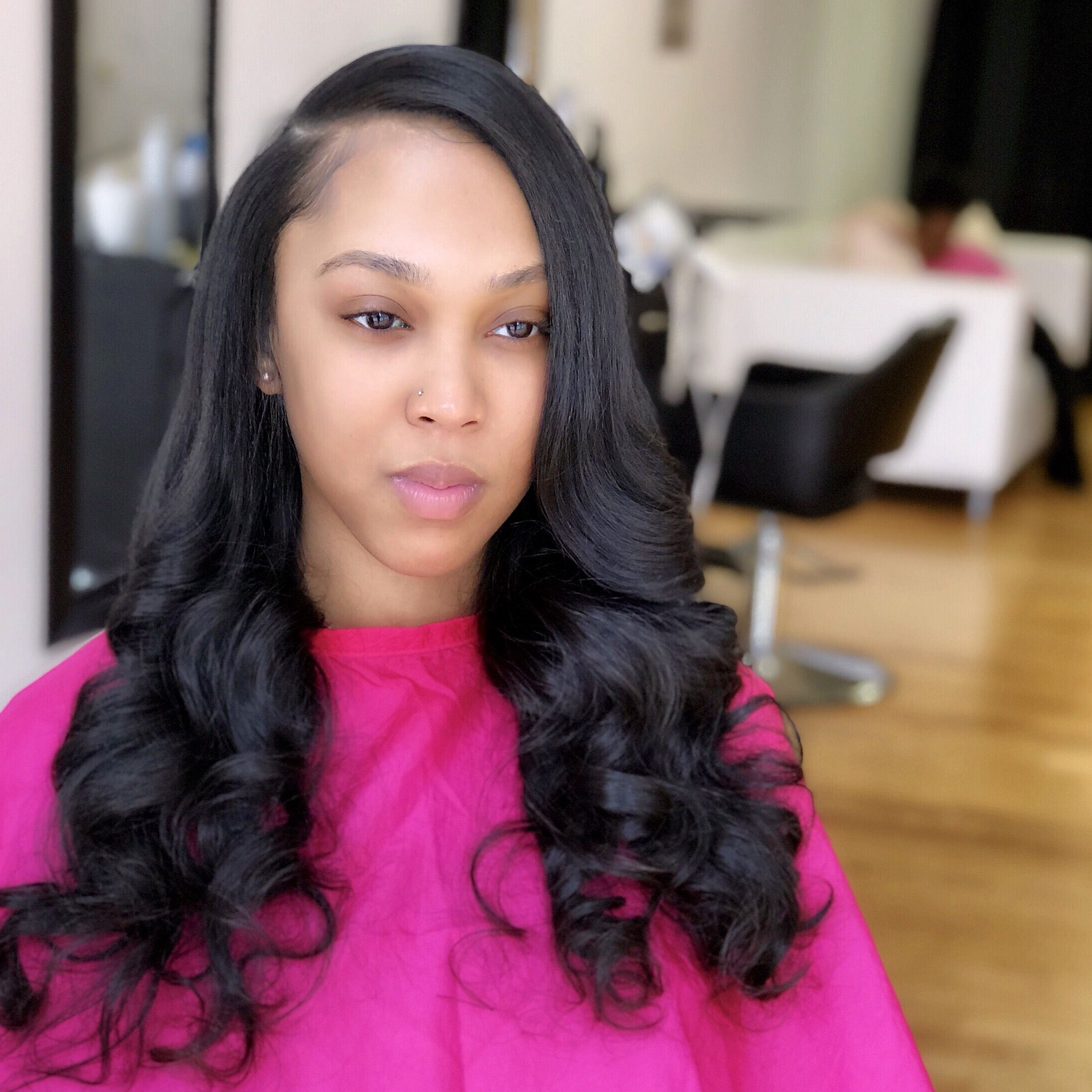 Side Part Sew In With Soft Curls Pinkandblackhairstudio Com