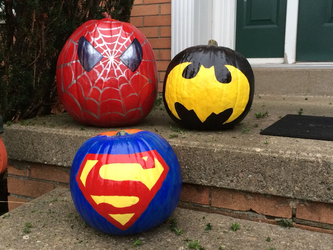 My creation of the super hero pumpkins. | Halloween pumpkins painted, Spiderman pumpkin, Pumpkin halloween decorations
